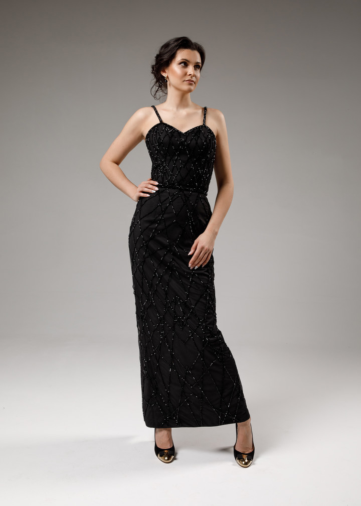 Celestia dress, 2021, couture, dress, evening, black, embroidery
