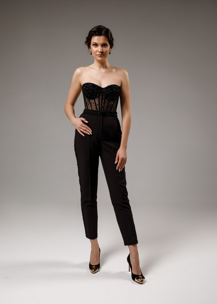 Beaded trousers, 2021, couture, trousers, evening, black, beaded black suit, embroidery
