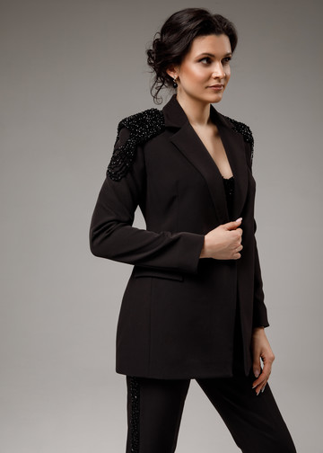 Jacket with epaulettes, 2021, couture, jacket, evening, black, beaded black suit, embroidery, sleeves